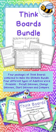 Think boards are a wonderful device for helping children solve word problems. The word problems in this bundle deal with addition sums up to ten. This bundle brings together four types of word problems: Result UnknownChange UnknownStart UnknownComparisonThere are four packages in the bundle.