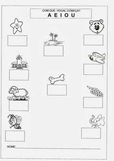 Atividades com vogais - Com que vogal começa