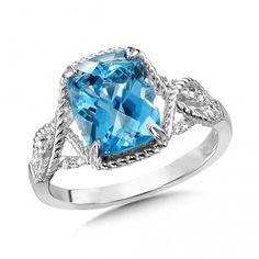 Blue Topaz & Diamond Ring in 14K White Gold