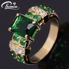 Mujeres al por mayor de oro Femenina anillo de piedra Verde IP chapado en Oro Anillo de Compromiso Anillos para las mujeres Joyería de la vendimia