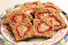 Raw Strawberry banana treats - gluten free, vegan, nutritarian, raw; dehydrator recipe