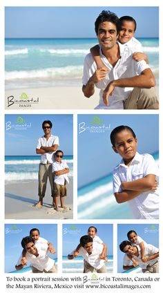 Beach portrait session with a father and son in Cancun, Mexico
