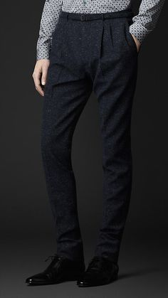 Slim Fit Tweed Pleat Front Trousers | Burberry