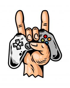 Hand Which Keep Modern Gamepad Joystick Game Controller For Play Video Game And Show Rock Sign Cool Game Forever. Ps Wallpaper, Game Wallpaper Iphone, Cartoon Wallpaper, Tatoo Geek, Rock Sign, Gaming Wallpapers, Game Logo, Fun Games, Geeks
