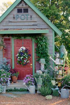 Potting Shed and Watering Cans on ladder | homeiswheretheboatis.net #pottingshed #garden