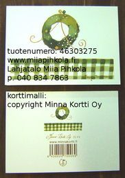 Minna Immonen card: Christmas wreath / Minna Immosen kortti: joulukranssi