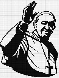 Pope Francis black portrait cross stitch pattern #PopeFrancis #embroidery #diy #crossstitch #xstitch #stitchers #pdfpattern #religion #faith #catholic #chart