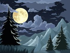 Illustration about Vector night landscape with fir-trees, mountains, full moon and clouds. Illustration of clouds, landscape, mountain - 56747561 Cloud Illustration, Landscape Illustration, Night Clouds, Moon Vector, Cloud Tattoo, Moon Art, Free Vector Art, Full Moon, Online Art Gallery