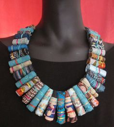 Turchese collana di fibra di Frida Kahlo etnica collana di
