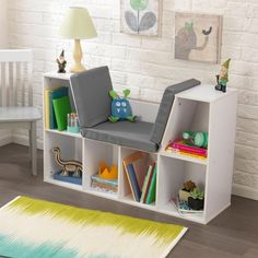 Encourage reading with this bookshelf-reading nook combo that's big enough for kids...or small adults.