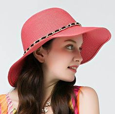 Fashion chain straw hat for women wide brim sun hat UV protection