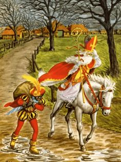 "In the Netherlands, Belgium and Luxembourg, Saint Nicolas, (""Sinterklaas"", often called ""De Goede Sint"" — ""The Good Saint"") Father Christmas, Christmas Art, Vintage Christmas, Vintage Cards, Vintage Postcards, Sainte Lucie, Old Cards, Vintage Santas, Vintage Pictures"