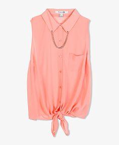Sleeveless Chained Collar Shir