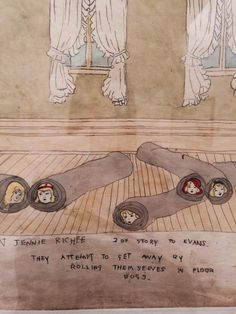 """More Henry Darger adventures.""""They attempt to get away by rolling themselves in floor rugs"""" #expoDarger @MAM"""