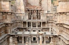 RANI-KI-VAV, Where: Gujarat, India: Rani-ki-Vav (the Queen's Stepwell) was built in honor of Bhimdev I, a ruler of the Solanki dynasty in western India, by his widowed wife in 1050 A.D. The stepwell was built to look like an inverted temple, with seven levels descending downward and culminating in a pool at the bottom.