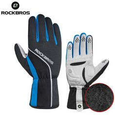 ROCKBROS Thermal Cycling Gloves Windproof Road Bike Gloves with Anti-slip Pad