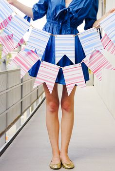DIY Decorations for the Fourth of July: Watercolor Stripe Bunting