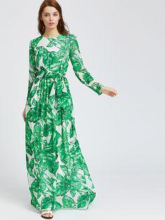 96f4c4b53505f Shop Palm Leaf Print Maxi Dress EmmaCloth-Women Fast Fashion Online Maxi  Jurken