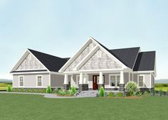 One Level Shingle Style House Plan - 77615FB | Craftsman, Exclusive, 1st Floor Master Suite, Butler Walk-in Pantry, CAD Available, Den-Office-Library-Study, PDF, Split Bedrooms, Corner Lot | Architectural Designs