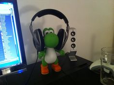 He needs something to hold his headphones <3