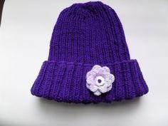Warm Hand knit hat Crocheted flower attached. Deep by HRStuff
