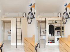 lit mezzanine 2 places dans la chambre adulte, kitchenette, buanderie et échelle sur rail
