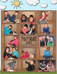 Leuk: maak van elk kind een foto in een doos, en 'plak' die foto's aan elkaar.