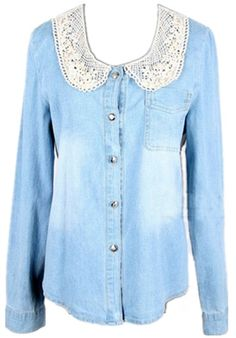 Crochet Collar Denim Shirt