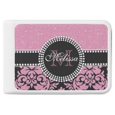 Girly pink glitter black Damask Name & Monogram Power Bank - monogram gifts unique design style monogrammed diy cyo customize