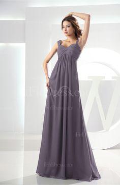 Black Casual Empire Thick Straps Zip up Chiffon Prom Dresses - iFitDress.com