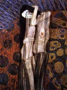 Beethoven frieze(detail)16 (1902), Oil by Gustav Klimt (1862-1918, Austria)