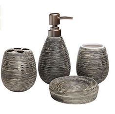 modern brown ridged 4 piece ceramic bathroom sink accessory set new