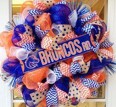 BSU Broncos Wreath  Boise State Broncos Wreath  by StephsDoorDecor