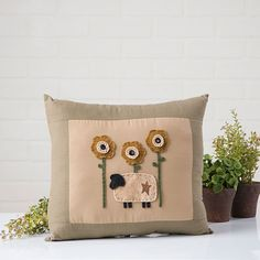 Sunflower Sheep Handmade Pillow