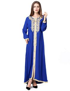 13753d34429 Amazon.com  Muslim Dress Dubai Kaftan For Women Long Sleeve Long Dress Abaya  Islamic