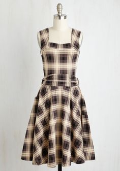 Guest of Honor Dress in Muted Plaid. You'll be flooded with invitations when exhibiting this finely tailored frock by California-based brand Effie's Heart - arriving in September! #brown #modcloth