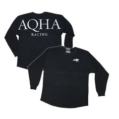 Black Racing Game Day Jersey Horse Riding Clothes, Horse Silhouette, American Quarter Horse, Cowgirl Outfits, Oversized Tee, Horse Racing, Silver Glitter, Game, Logo