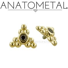 Threaded Sabrina Ends in solid 18k yellow gold with Black CZ gemstones