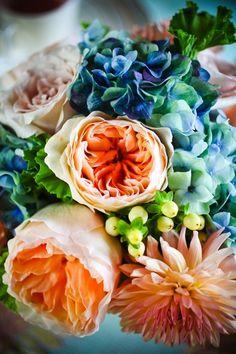 Peach and blue wedding boquet - peach roses and blue hydrangeas