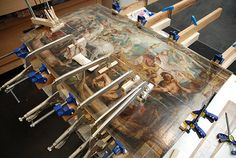 Triumph of the Church during treatment, gluing a split that almost separated this panel into two pieces.