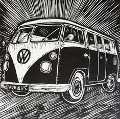 Lino cut print of a 1965 VW Bus by MattBroughtonDesign on Etsy