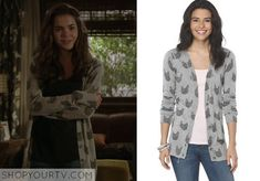 The Fosters: Season 2 Episode 12 Callie's Grey Cat Print Cardigan