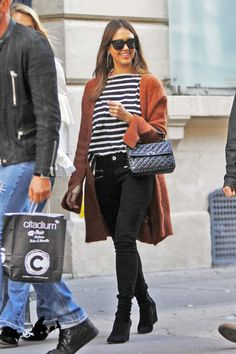 Paris in the Fall: Jessica Alba's Stripe Top and Rust Cardigan Look for Less
