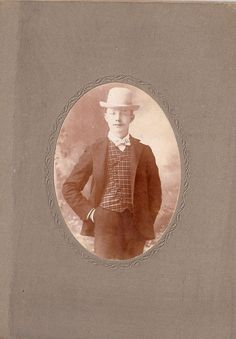 Vintage Cabinet Card Photo Dapper Young Man with Hat Bowtie