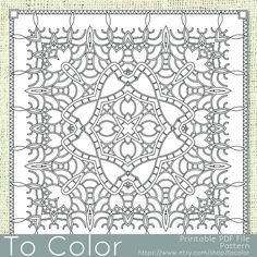 Printable Coloring Page for Adults, Intricate Pattern, PDF / JPG, Instant Download, Coloring Book, Coloring Sheet, Grown Ups, Mandala by ToColor on Etsy