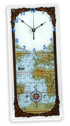 Amazon.com - Peggy Karr Handcrafted Art Glass Antique Map Wall Clock -