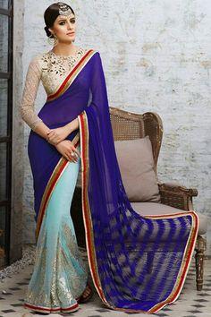 Aqua and Royal Blue Embroidered Saree