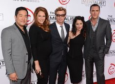 LOS ANGELES, CA - OCTOBER 13: Actors Tim Kang, Amanda Righetti, Simon Baker, Robin Tunney, and Owain Yeoman attend the CBS 100 episode celebration of 'The Mentalist' held at The Edison on October 13, 2012 in Los Angeles, California.