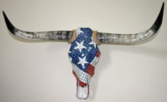 American Flag Longhorn Cow Skull Mosaic Wall Art, Charity, Free Shipping. $1,200.00, via Etsy.