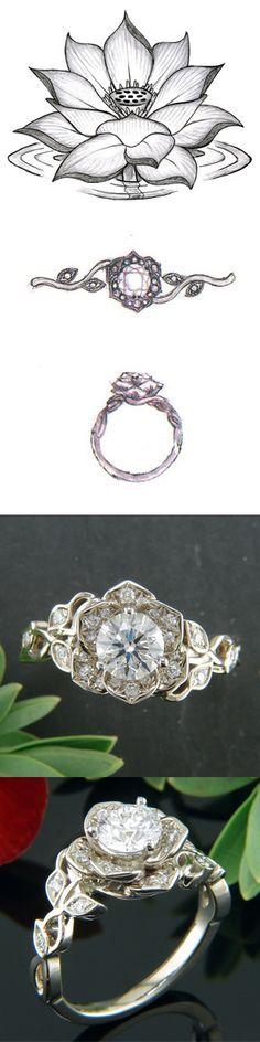 Diamond Lotus Ring in Warm White Gold  #GreenLakeJewelry #EngagementRing #Ido